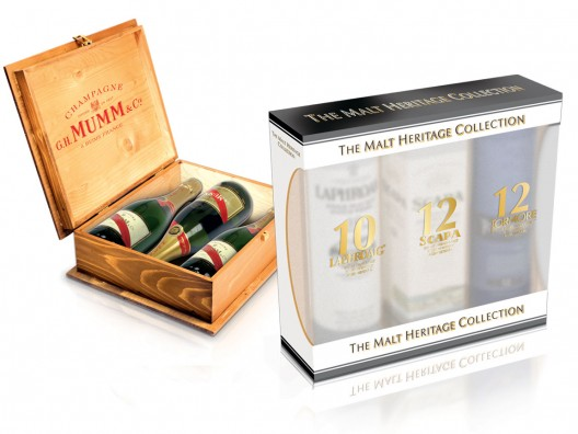 Mumm and 3 malt box: Laphroaig, Scapa and Tormore
