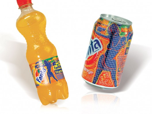 Fanta PET bottle and can