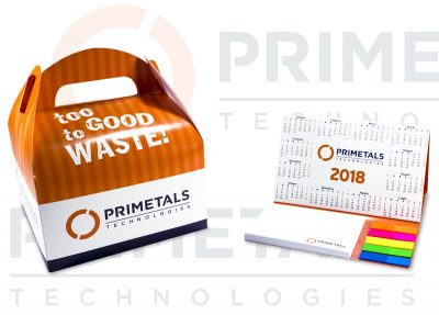 Primetals Doggy Bag and desk calendar